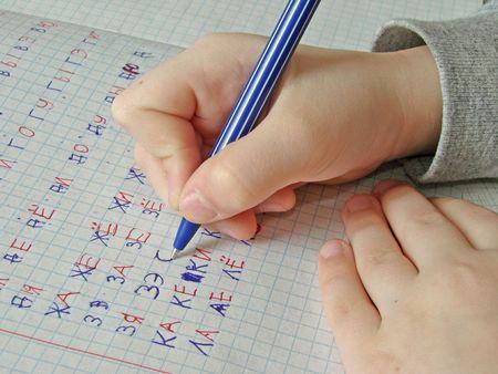 lassie: writing girls hands Stock Photo