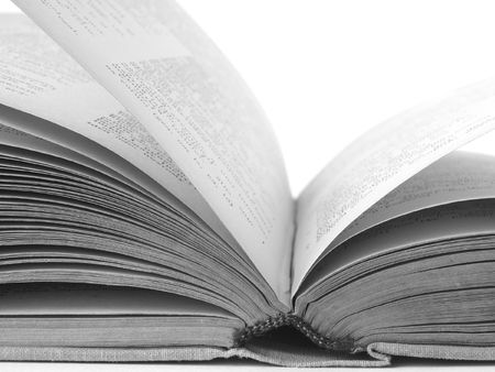 black and white fragment of the opened book on the light background Stock Photo