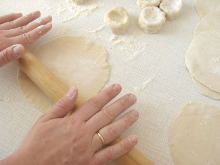 sheeting: hands are sheeting dough with a rolling-pin to prepare cookie