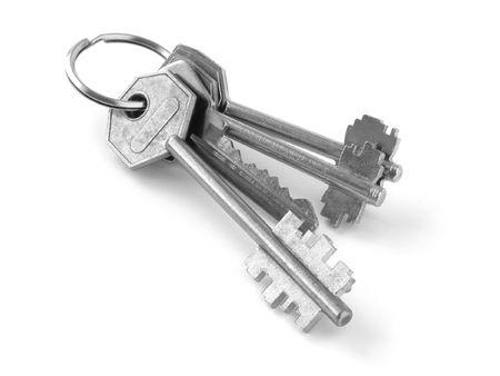 bunch of keys from door locks on white background Stock Photo - 838230