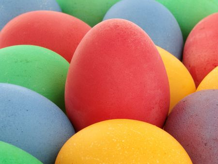 close-up of some colored eggs as a background                                photo