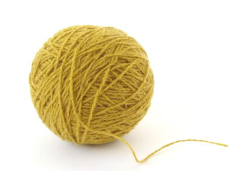 wool yarn clew close-up at the white background Stock Photo - 1291299