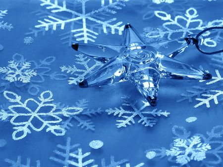 blue christmas background with star and snowflakes                                photo