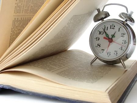 open book and classic alarm clock                                Stock Photo - 2196411