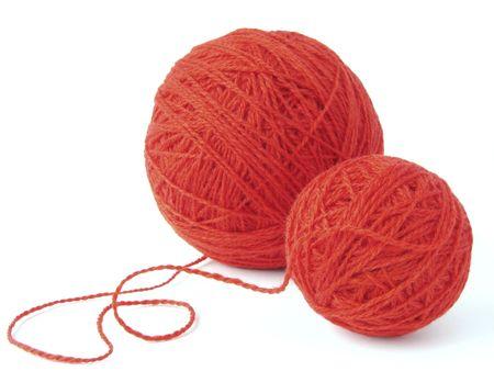 gomitoli lana: filati di lana rosso Clews Archivio Fotografico