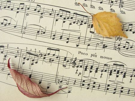 octave: old sheet of musical symbols with colorful autumnal leaves                             Stock Photo