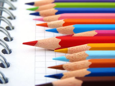 spiral notepad with set of color pencils Stock Photo - 2491962