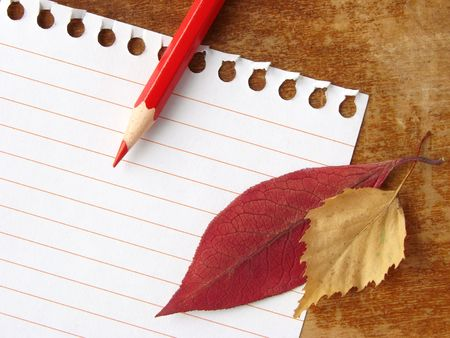 notepad page with pencil and autumnal leaves
