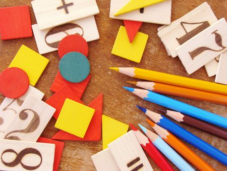 educational tools: educational tools set for primary school                                 Stock Photo