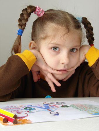 little painter thinking                                Stock Photo - 3105671