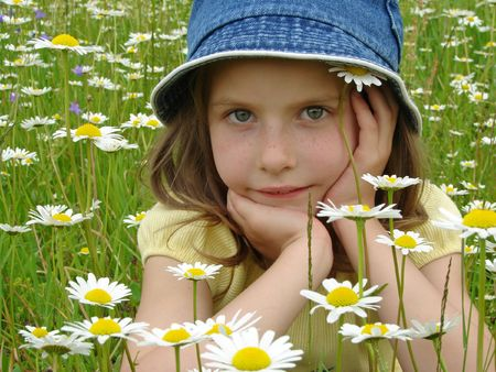 naivete: little girl portrait with wild daisies at the summertime meadow                                Stock Photo