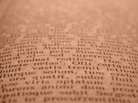 virgil: sepia toned book page with ancient Latin poem                             Stock Photo