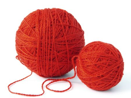 yarn: two red wool balls for knitting