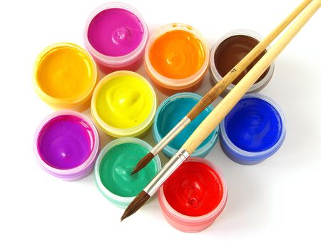 watercolor gouache paints set with brushes Stock Photo - 4218919
