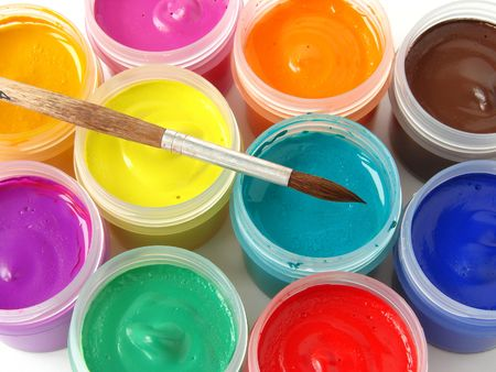 watercolor gouache paints set with brush                                 photo