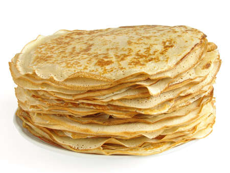 rubicund: pancakes pile against white background Stock Photo
