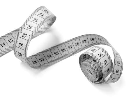 measuring tape fragment on white                                photo