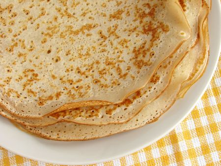 shrove tuesday: pancakes pile fragment on plate                            Stock Photo