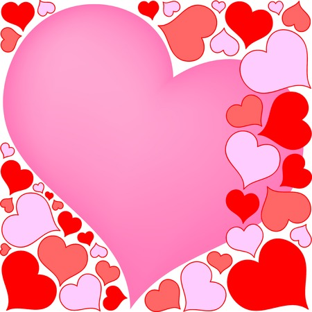 pink and red hearts background Stock Vector - 4424921