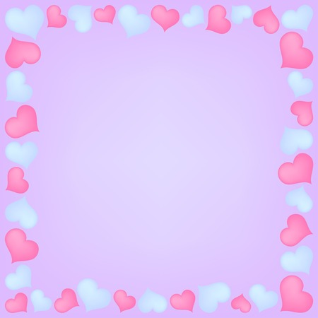 rosy: frame with pink and blue hearts on violet background