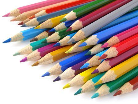 Color pencils set fragment on white                                photo