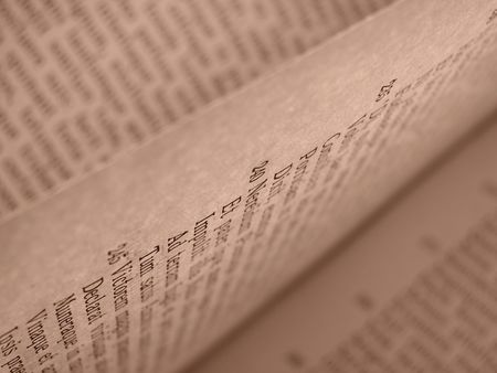 virgil: shallow DOF sepia toned open book pages with ancient latin text of Aeneid by Virgil                                Stock Photo