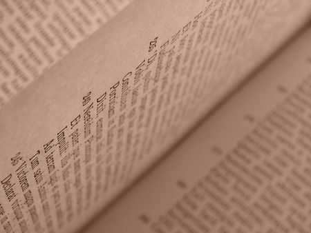 virgil: sepia toned open book pages with ancient latin text of Aeneid by Virgil                                Stock Photo