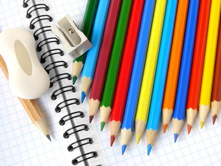 tutorials: sharpener and pencils with eraser on the spiral notepad page