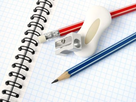 sharpener and pencils with eraser on the spiral notepad page                                Stock Photo - 5542777