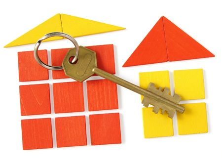 symbolic toy houses and key as real estate concept Stock Photo - 5587576