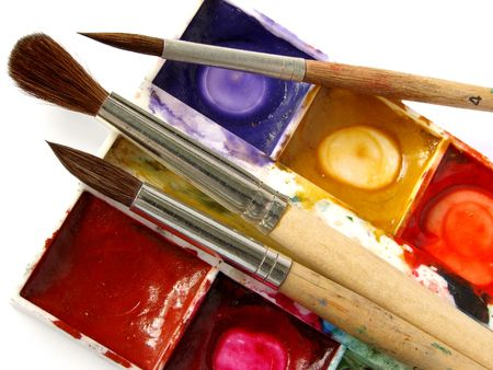 dirty watercolor paints set with brushes after using                                 Stock Photo - 5616462