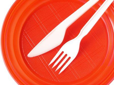 bright disposable tableware set on white                                Stock Photo - 5662519