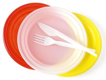colorful disposable tableware set for picnic                                Stock Photo - 5679302