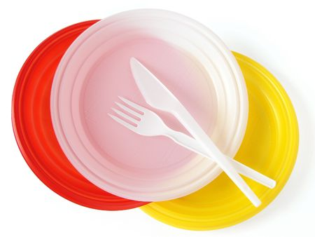 disposable: colorful disposable dishware set on white                                Stock Photo