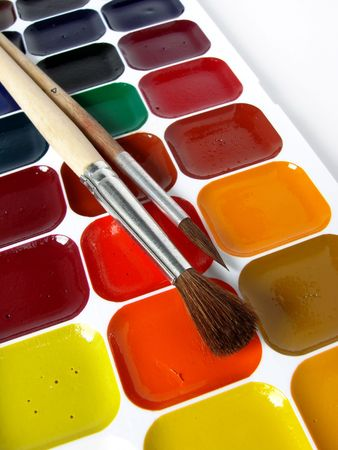 vibrant paintbrush: watercolor paints set with brushes                                 Stock Photo