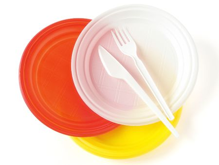 dishware: colorful disposable dishware set on white                                Stock Photo