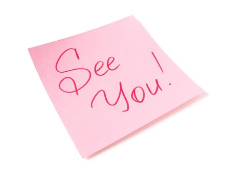 See you handwritten message on pink sticker Stock Photo - 5893162