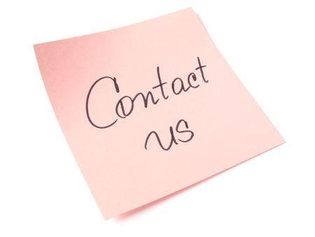 contact us handwritten message on pink sticker
