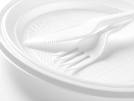white disposable dishware set in black and white                                photo