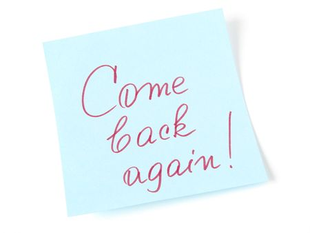 come back again message on blue sticker Stock Photo - 5960810