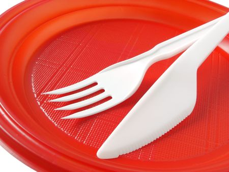 red disposable plate with fork and knife Stock Photo - 6028889