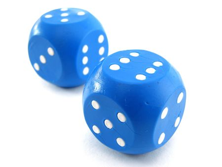 two blue dices with white dots Stock Photo - 6357806