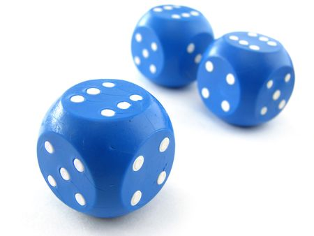 three blue dices with white dots Stock Photo - 6399040