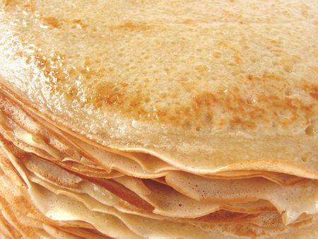 rubicund: homemade pancakes pile fragment closeup                                Stock Photo