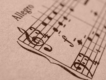 musicality: seppia tonica vecchia scheda del frammento di note musicali