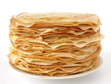 porous: homemade pancakes pile on plate                                 Stock Photo