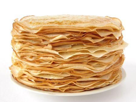 homemade pancakes pile on plate                                 Stock Photo