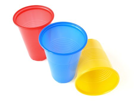 disposable: three plastic empty colorful cups