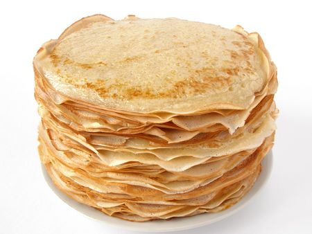 porous: russian traditional pancakes pile on plate                                 Stock Photo