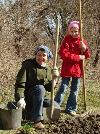 family gardening at the early springtime                                photo